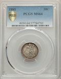 Seated Dimes, 1885 10C MS64 PCGS Gold Shield. PCGS Population: (99/100 and 3/8+). NGC Census: (93/121 and 3/1+). MS64. Mintage 2,532,497....