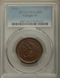 Large Cents: , 1855 1C Upright 55, MS64 Brown PCGS. PCGS Population: (137/69). NGC Census: (104/109). MS64. Mintage 1,574,829. ...