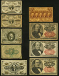 Fractional Currency:Third Issue, A Varied Assortment of Nine Fractional Notes. Fine or Better.. ... (Total: 9 notes)