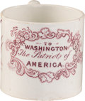Political:3D & Other Display (pre-1896), George Washington: Soft-Paste Staffordshire Child's Mug.. ...