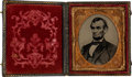 Photography:Tintypes, Abraham Lincoln: Large Bearded Tintype in Patriotic Case. ...