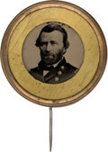 Political:Ferrotypes / Photo Badges (pre-1896), Ulysses S. Grant: Choice Large Ferrotype Pin.. ...