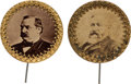 Political:Ferrotypes / Photo Badges (pre-1896), Benjamin Harrison and Grover Cleveland: Unusually Large Photo Pin Pair.. ... (Total: 2 Items)