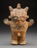 Pre-Columbian:Ceramics, A Chancay Polychrome Standing Male Height:...