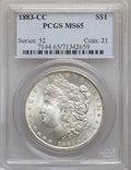 Morgan Dollars: , 1883-CC $1 MS65 PCGS. PCGS Population: (9027/2664). NGC Census:(4419/1137). CDN: $315 Whsle. Bid for problem-free NGC/PCGS...