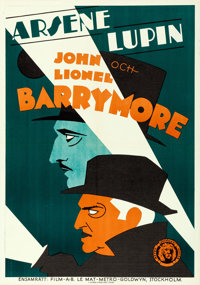 "Arsène Lupin (MGM, 1932). Folded, Very Fine+. Swedish One Sheet (27.5"" X 39.5"")"
