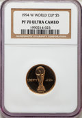 1994-W $5 World Cup Gold Five Dollar PR70 Ultra Cameo NGC. NGC Census: (668). PCGS Population: (111). CDN: $425 Whsle. B...