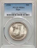 1936 50C Elgin MS64 PCGS. PCGS Population: (1812/3878). NGC Census: (861/2394). CDN: $150 Whsle. Bid for NGC/PCGS MS64...
