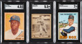 Baseball Cards:Lots, 1940-67 Play Ball & Topps Baseball HoFers SGC Graded Trio (3)....