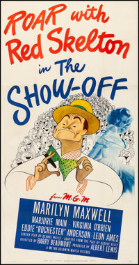 "The Show-Off (MGM, 1946). Fine/Very Fine on Linen. Three Sheet (41"" X 78.5""). Al Hirschfeld Artwork. Comedy..."