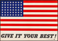 "Movie Posters:War, World War II Propaganda (U.S. Government Printing Office, 1942). Folded, Very Fine-. Poster No. 9 (20"" X 14"") ""Give It Your ..."