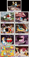 "Movie Posters:Animation, Alice in Wonderland (Buena Vista, R-1974). Very Fine/Near Mint. Lobby Card Set of 9 (11"" X 14"") in Original Studio Envelope.... (Total: 10 Items)"