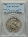 Franklin Half Dollars, 1948 50C MS65 Full Bell Lines PCGS. PCGS Population: (2980/538). NGC Census: (1102/146). CDN: $100 Whsle. Bid for problem-f...