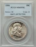 Franklin Half Dollars, (2)1956 50C MS65 Full Bell Lines PCGS. PCGS Population: (1836/890). NGC Census: (676/204). CDN: $65 Whsle. Bid for problem-... (Total: 2 coins)