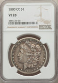 1880-CC $1 VF20 NGC. NGC Census: (23/7674). PCGS Population: (52/14359). CDN: $190 Whsle. Bid for problem-free NGC/PCGS...