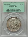 Franklin Half Dollars, 1957-D 50C MS66 Full Bell Lines PCGS. PCGS Population: (457/23). NGC Census: (184/9). CDN: $150 Whsle. Bid for problem-free...