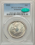 Commemorative Silver, 1935 50C Arkansas MS66+ PCGS. CAC. NGC Census: (102/11 and 5/1+).PCGS Population: (225/24 and 15/3+). CDN: $200 Whsle. Bid...