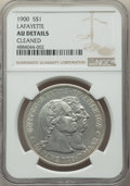 Commemorative Silver, 1900 $1 Lafayette Dollar -- Cleaned -- NGC Details. AU. NGC Census:(12/2473). PCGS Population: (72/3595). CDN: $350 Whsle....