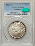 Commemorative Silver, 1937-S 50C Arkansas MS65+ PCGS. CAC. NGC Census: (189/41 and 0/2+).PCGS Population: (257/89 and 3/7+). CDN: $190 Whsle. Bi...