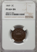 Proof Two Cent Pieces, 1869 2C PR66+ Brown NGC....