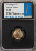 Modern Bullion Coins, 2019 $5 Tenth Ounce Gold Eagle, First Day of Issue MS70 NGC. NGC Census: (0). PCGS Population: (567). ...