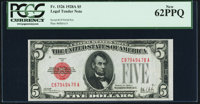 Fr. 1526 $5 1928A Legal Tender Note. PCGS New 62PPQ