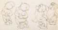 Animation Art:Production Drawing, Snow White and the Seven Dwarfs Washing Scene AnimationDrawing (Walt Disney, 1937)....