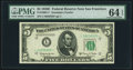 Fr. 1966-L* $5 1950E Federal Reserve Star Note. PMG Choice Uncirculated 64 EPQ
