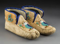 American Indian Art:Beadwork and Quillwork, A Pair of Northwest Coast Pictorial Beaded Hide Moccasins