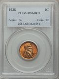 Lincoln Cents: , 1928 1C MS66 Red PCGS. PCGS Population: (427/68). NGC Census: (96/12). CDN: $180 Whsle. Bid for problem-free NGC/PCGS MS66....