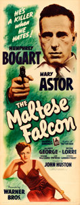"""Movie Posters:Film Noir, The Maltese Falcon (Warner Brothers, 1941). Folded, Very Fine. Insert (14"""" X 36"""").. ..."""