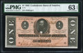 Confederate Notes:1864 Issues, T71 $1 1864 PF-12 Cr. 574 PMG Choice Uncirculated 63 EPQ.. ...