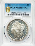 Morgan Dollars, 1885 $1 MS65 Deep Mirror Prooflike PCGS. PCGS Population: (348/98 and 14/5+). NGC Census: (195/57 and 0/2+). CDN: $950 Whsl...