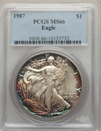 1987 $1 Silver Eagle MS66 PCGS. This lot will also include the following: 1999 $1 Silver Eagle MS66 PCGS; and a: &lt...