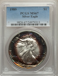 1989 $1 Silver Eagle MS67 PCGS. PCGS Population: (323/14201). NGC Census: (418/122353). Mintage 5,203,327. ...(PCGS# 982...