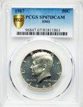 SMS Kennedy Half Dollars, 1967 50C SMS SP67 Deep Cameo PCGS Gold Shield. PCGS Population: (102/17 and 8/0+). NGC Census: (207/27 and 3/0+)....
