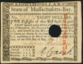 Colonial Notes:Massachusetts, Signed by Loammi Baldwin Massachusetts May 5, 1780 $8 About New.. ...