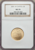Modern Issues, 2001-W $5 Capitol Visitors Center Gold Five Dollar MS70 NGC. NGC Census: (1162). PCGS Population: (294). CDN: $625 Whsle. B...