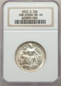 Commemorative Silver, 1935-S 50C San Diego MS66 NGC. NGC Census: (705/99). PCGS Population: (1787/213). MS66. Mintage 70,132. ...