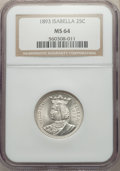 Commemorative Silver, 1893 25C Isabella Quarter MS64 NGC. NGC Census: (1015/618). PCGSPopulation: (1323/830). MS64. Mintage 24,214. ...