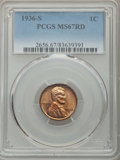 1936-S 1C MS67 Red PCGS. PCGS Population: (77/0). NGC Census: (130/0). CDN: $550 Whsle. Bid for problem-free NGC/PCGS MS...