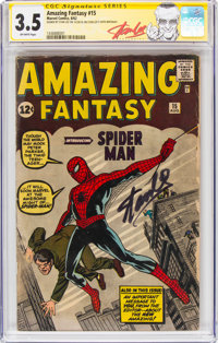 Amazing Fantasy #15 Stan Lee Exclusive Signature Series (Marvel, 1962) CGC VG- 3.5 Off-white pages