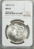Morgan Dollars: , 1883-CC $1 MS63 NGC. NGC Census: (6288/13968). PCGS Population:(12300/28915). CDN: $195 Whsle. Bid for problem-free NGC/PC...