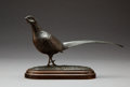 Sculpture, Geoffrey Dashwood (British, b. 1947). Cock Pheasant. Bronze with green patina. 5 inches (12.7 cm) high on a 1 inch (2.5 ...