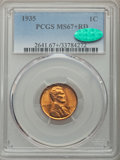 1935 1C MS67+ Red PCGS. CAC. PCGS Population: (559/11 and 79/1+). NGC Census: (553/1 and 3/0+). CDN: $160 Whsle. Bid for...
