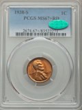 Lincoln Cents, 1938-S 1C MS67+ Red PCGS. CAC. PCGS Population: (339/0 and 20/0+). NGC Census: (769/0 and 3/0+). CDN: $115 Whsle. Bid for p...