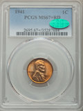 Lincoln Cents, 1941 1C MS67+ Red PCGS. CAC. PCGS Population: (280/1 and 41/0+). NGC Census: (839/0 and 12/0+). CDN: $130 Whsle. Bid for pr...