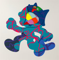 KAWS (American, b. 1974) Ankle Bracelet, 2017 Silkscreen in colors on paper 58 x 58 inches (147.3