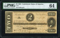 Confederate Notes:1864 Issues, T70 $2 1864 PF-5 Cr. 567 PMG Choice Uncirculated 64.. ...