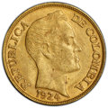 Colombia, Colombia: Republic gold 5 Pesos 1924-B MS63 PCGS,...